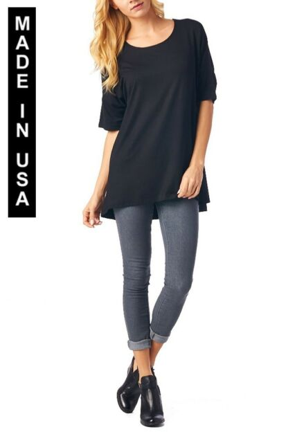 WOMEN SIMPLE CASUAL SOLID JERSEY TOP OR BLOUSE - MADE IN USA (MORE COLORS)