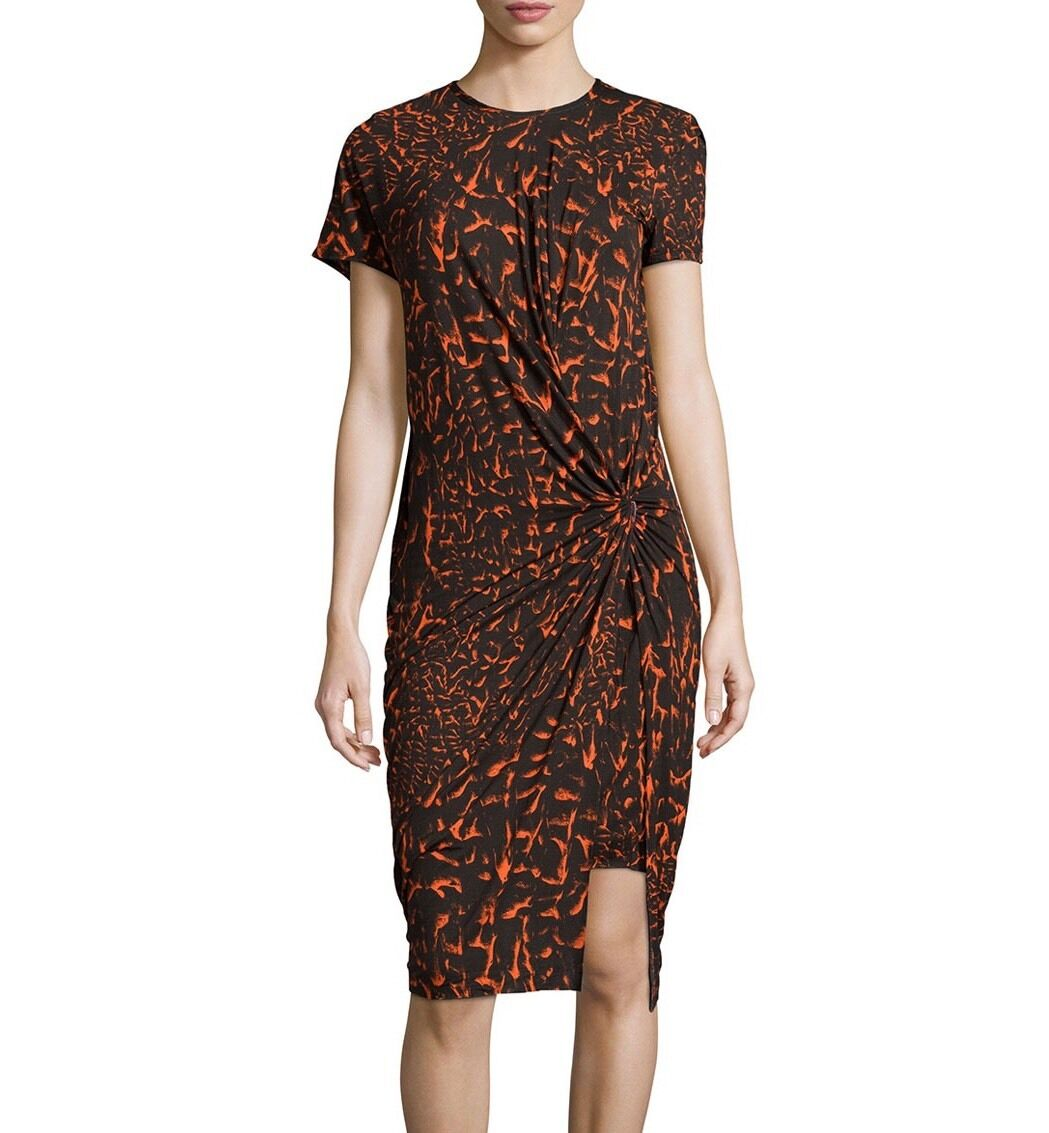 Helmut Lang Strata Print Gathered Knot Draped Dress in Vein Multi Size Small S