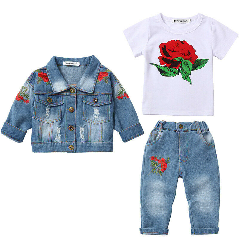 YAO Infant Little Baby Girls Clothing Set 3 Pieces Sets T Shirt Jacket and Jeans