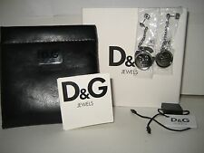 NEW DOLCE&GABBANA Women Earrings Lover D&G Logo Circle Pendant Silvertone BOX