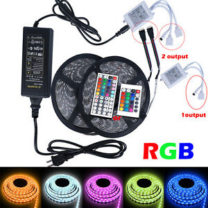 5050 RGB LED Strip 12V Waterproof Kit 150/300/600 SMD Adapter + 24/44 Remote US