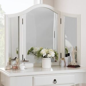 ROMANCE-Antique-White-Dressing-Table-Mirror-Stunning-Large-white-3-way-mirror