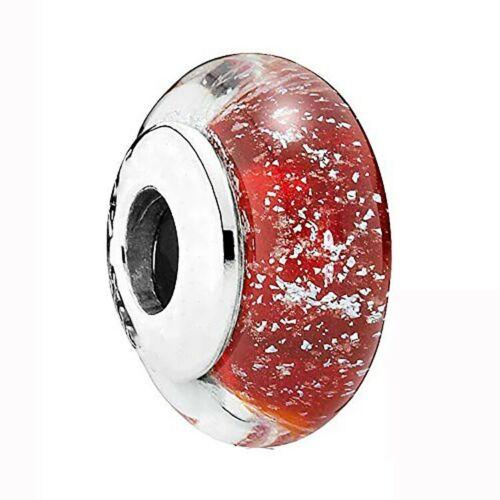 Sterling 925 en verre de Murano argent charms perle pour Européenne Bracelet Chaîne US