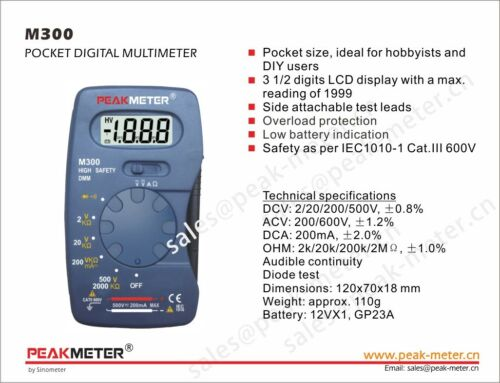 M300 Mini Digital de poche Multi Meter Peakmeter Essentiel fonctions 110 g