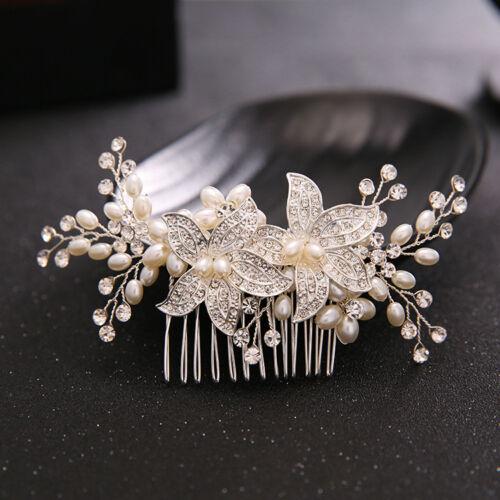 Bridal Hair Comb Wedding Diamante Clip Slide Tiara Headband Clips Accessories