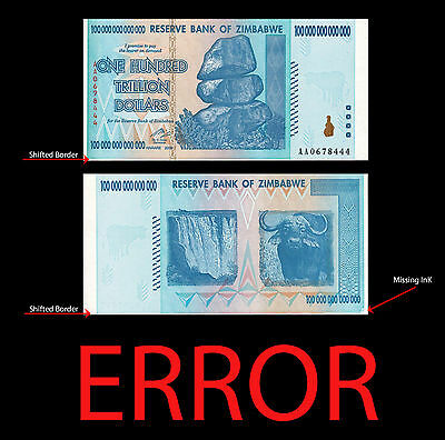 ZIMBABWE 100 TRILLION DOLLAR *ERROR* , 2008, AA, AA0678444 Margen Shifted Border