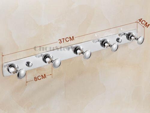 Chrome Brass Bathroom Wall Mounted Robe Hook Cloth Hanger Door Mount Hooks Rack