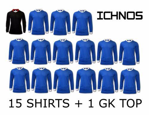 ICHNOS BLUE ADULT MATCH DAY TEAM KIT FOOTBALL SHIRTS 15 PLAYERS 1 GK TOP
