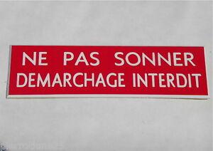 """Appris Plaque Gravée """"ne Pas Sonner Demarchage Interdit"""" (2 Versions) Ft 50 X 150 Mm Rendre Les Choses Commodes Pour Le Peuple"""