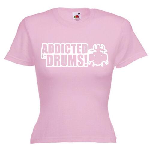 Drums Drummer Drum Kit Ladies Lady Fit T Shirt 13 Colours Size 6-16