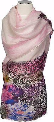 Schal 100% Leinen Rosa linen  digital printed scarf stole Floral Blumen