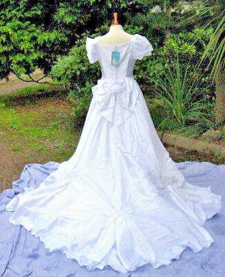 Vintage Novia Dart Abito Da Sposa 12 14 Con Perline Corpetto Su Off Spalla Treno Bianco-mostra Il Titolo Originale