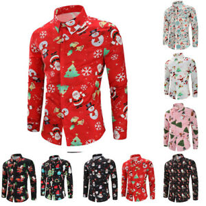 d489b151a65c84 Christmas Men Button Down Shirts Long Sleeve Blouse Slim T-shirts ...