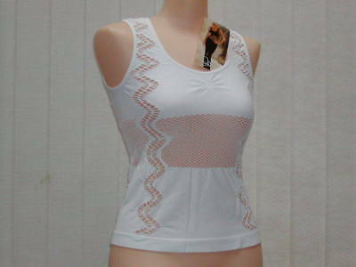 Sexy White Solid Panels and Fishnet Designed Seamless Tank Top L/XL Shirley 1181