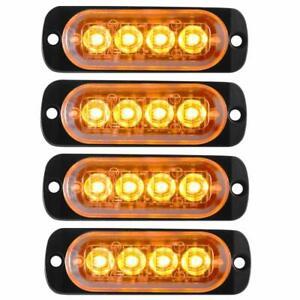 4X White 6 LED Emergency Hazard Flash Warning Caution Beacon Strobe Light Bar#11