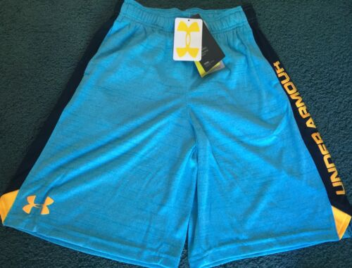 NWT Under Armour Boys M Light Blue//Black//Light Orange Loose Fit Shorts YMD