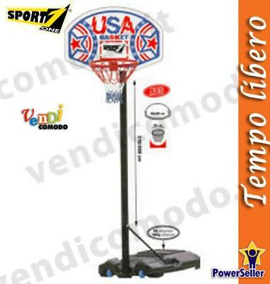 Piantana Basket Usa Sport One Palla Canestro Regolabile Pallacanestro 210/260