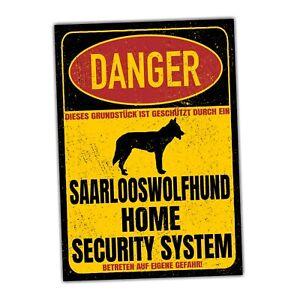 Saarlooswolfhund Wolfhund Wolf Schild Danger Security System Türschild Hundeschi
