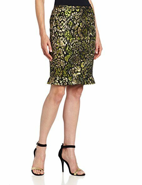 NWT  228 Elie Tahari RUTH Metallic Animal Print Green gold Penci Skirt Sz 8
