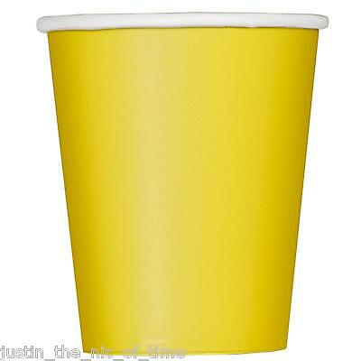 14x Paper CUPS 9oz 266ml Plain Solid Colours Party Tableware Events Catering CUP