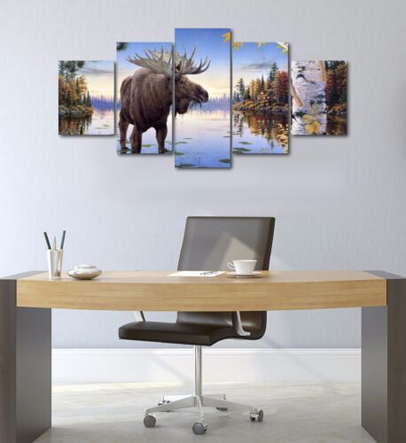 Large Five Piece Moose Wildlife Nature Hunting Canvas Print Wall Art Home Decor