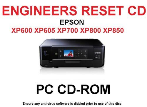 EPSON XP605 XP700 XP750 XP800 XP850 PRINTER WASTE INK PAD RESET UTILITY NEW CD