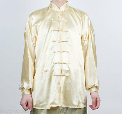 Wushu TaiChi KungFu uniform Light Yellow Tai Chi Chuan Uniforms Kung Fu Chinese