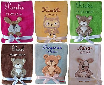 Kuschlige Babydecke NEU SUPER FLAUSCHIG mit Namen und Datum bestickt Kinderdecke