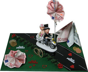 lustige geldgeschenke zur hochzeit brautpaar auf motorrad gastgeschenk ebay. Black Bedroom Furniture Sets. Home Design Ideas