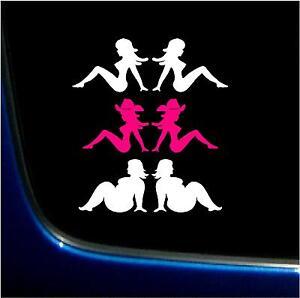 PAIR OF GIRLS  COWGIRL FAT GIRLS COWBOY TRUCKER  VINYL GRAPHIC DECAL STICKER