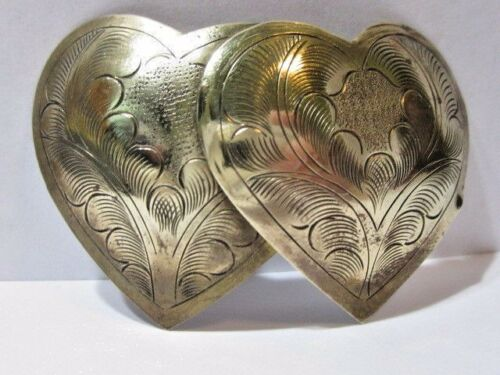 BRASS GYPSY BOHO ETCHED DOUBLE HEART PIN VINTAGE I