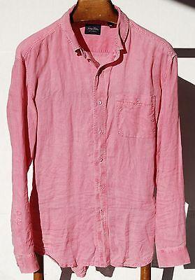 Indigo Palms Gentleman's XL (18/38) Nantucket Red/Pink 100% Linen Long-Slv Shirt