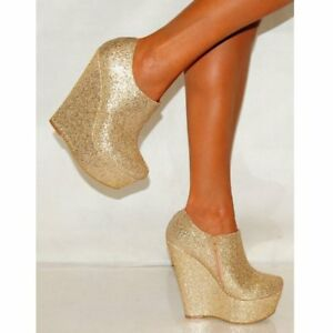 SILVER-GOLD-GLITTER-METALLIC-WEDGED-PLATFORMS-WEDGES-ANKLE-BOOTS-HIGH-HEELS-SIZE