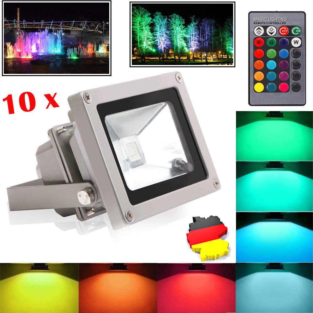 10W LED Fluter Spot Außenstrahler RGB multiFarbe Flutlich Strahler Wasserdicht