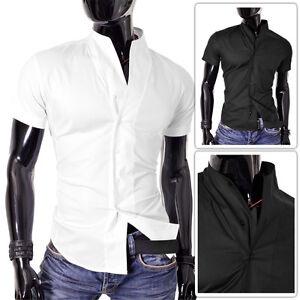 Mens-Shirt-Black-and-White-Short-Sleeve-Mandarin-Collar-Slim-Fit-Stretchy-Cotton