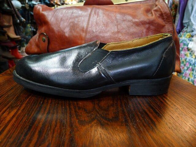 antik Herren 50er Schuhe Slipper Halbschuhe Handmade Schwarz Leder 50er Herren True Vintage 2a0ff7