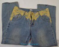 CACHE Lower Rise Loose Fit light wash Denim Jeans Sz 10 crop capri GOLD lace NEW