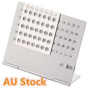 Silver Perpetual Calendars Aluminium Desk Calendar Home and Office Novelty Gift 807472949901