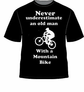 Never Underestimate Old Man With Mountain Bike T Shirt Funny Novelty