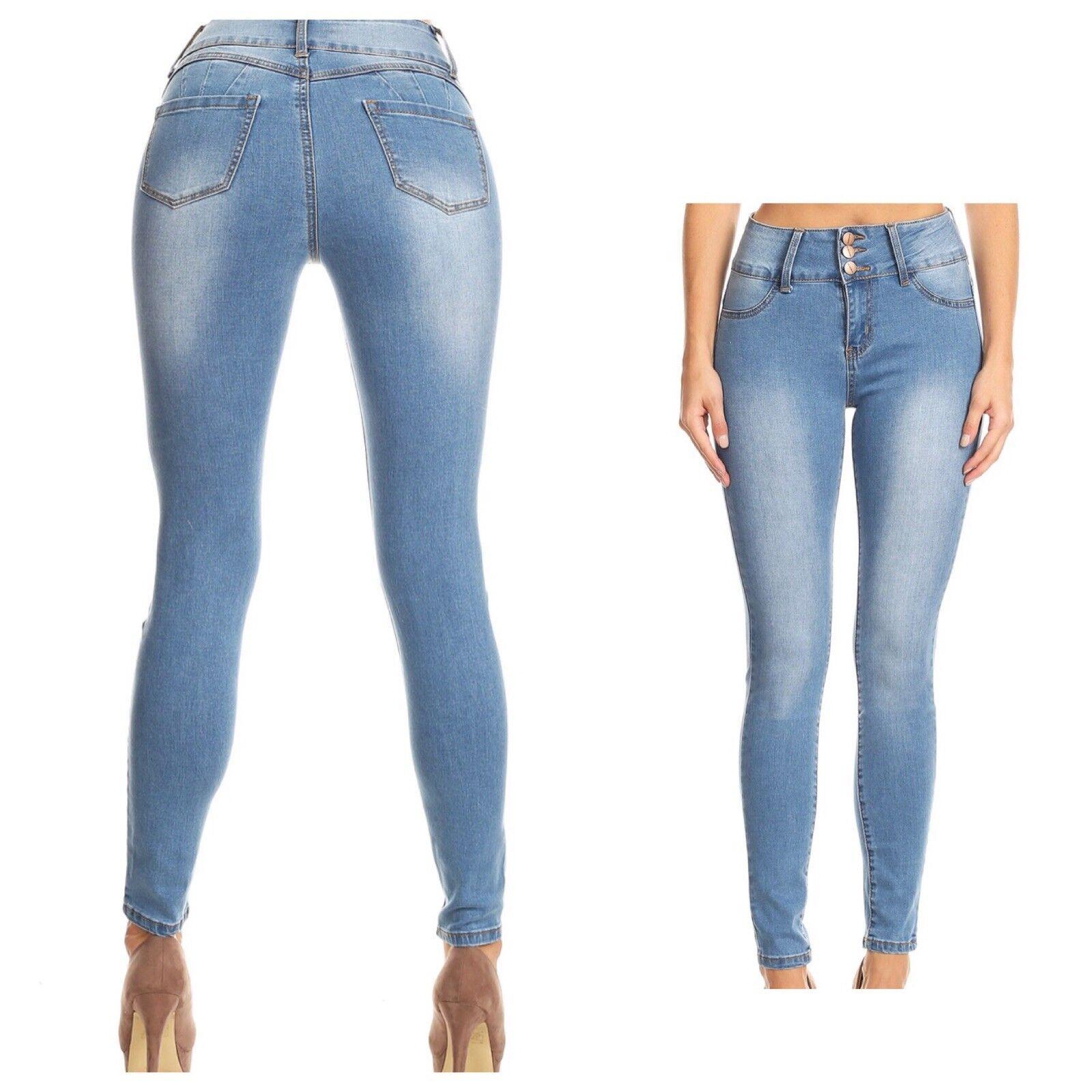 Women's Push Up Butt Lift High Waist Skinny Jeans Light Wash bluee Size 15