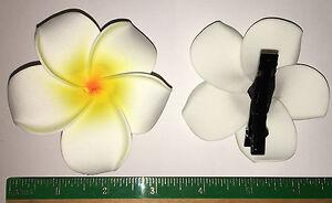 Hawaiian Tropical Fleur Pince à cheveux jaune et blanc Plumeria mousse Hawaii Bijoux Grand