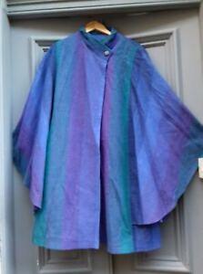 581e5a9fc94 AVOCA Pure New Wool Irish purple green batwing cape Wicklow Small vg ...