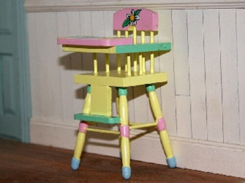 Dolls House Miniature 1//12th Handpainted Wooden High Chair Various Colours