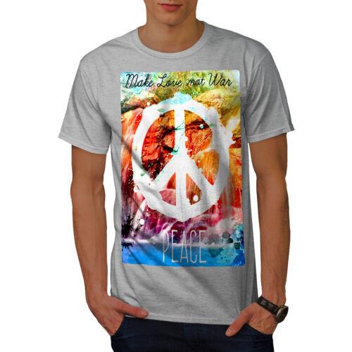 Wellcoda Make love not war T-shirt da uomo la pace design grafico stampato T-shirt