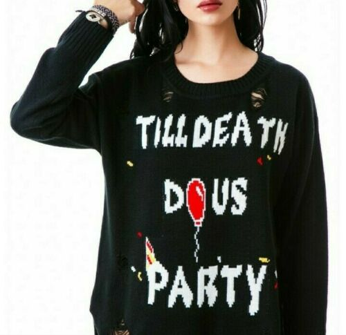 UNIF Till Death Do Us Party Shredded Sweater XS