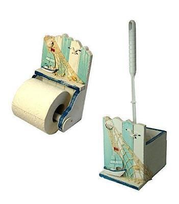 En bois Nautique Porte-rouleaux de papier toilette et brosse Set salle de bain Loo-Shabby hippocampe