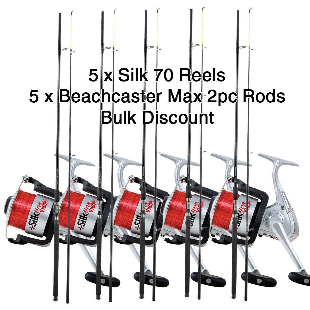 Lote 5 X Silk 70 Cocheretes & 5X Beachcaster Max 12ft 2pzas Cañas de PesCoche