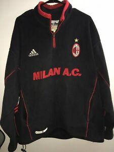Details about Vintage Adidas AC MILAN Mens Soccer Training Fleece Pullover Warm Up XL
