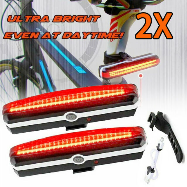 2X USB Rechargeable LED Bike Headlight MTB Cycle Bicycle Back Rear Tail Light