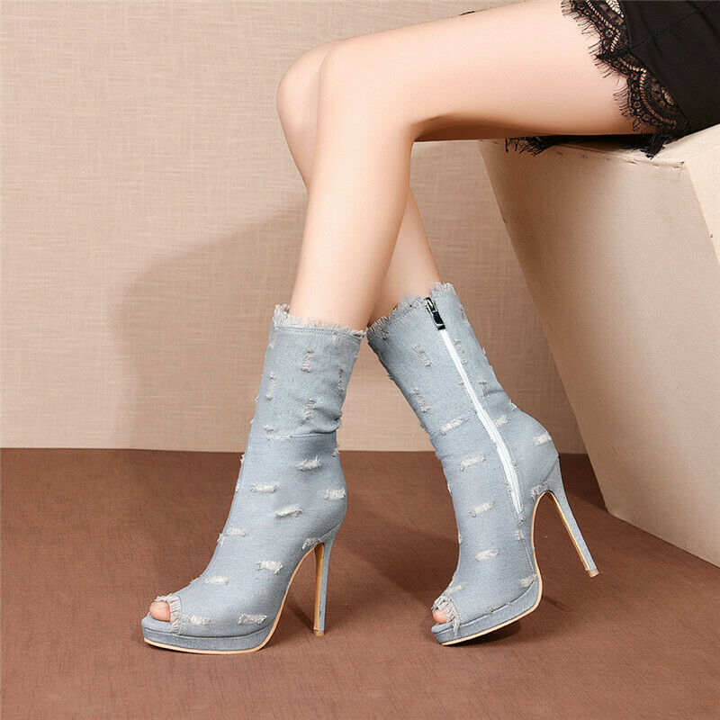 Denim Boots Women's High Heels Ankle Sandals Boots Spring Summer Plus Size shoes